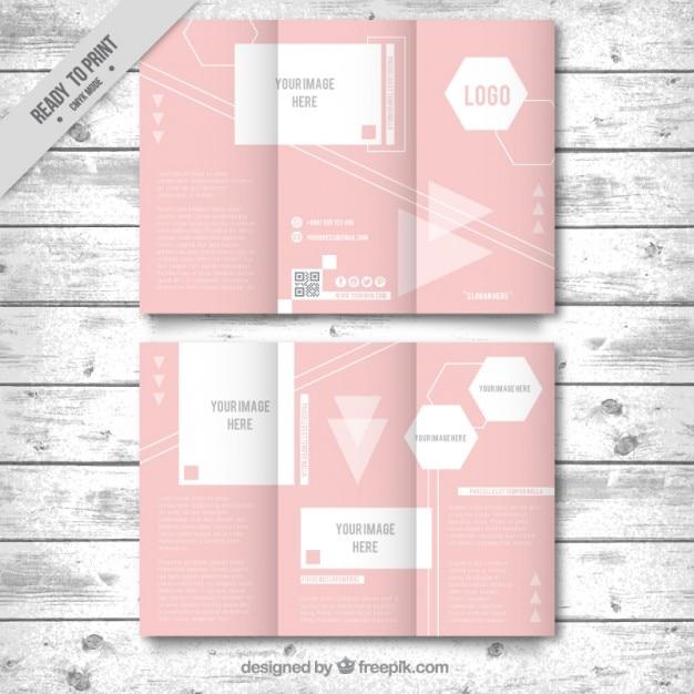 Rosa brochura com três dobras infográfico Vetor grátis