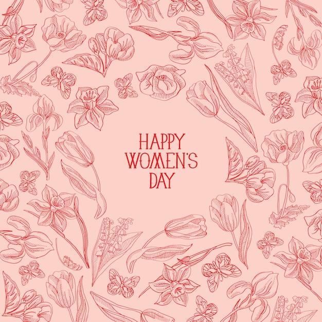 Rosa cartão feliz dia da mulher com muitas flores à direita do texto em vermelho com ilustração vetorial de saudações Vetor grátis