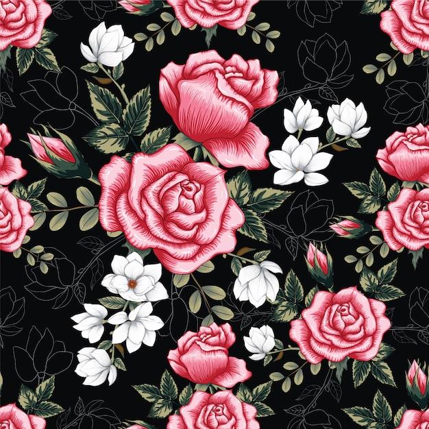 Rosa cor-de-rosa sem emenda do teste padrão floresce o fundo. Vetor Premium