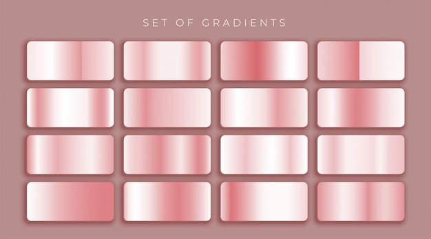 Rosa de ouro ou rosa gradientes metálicos conjunto Vetor grátis