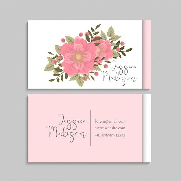 Rosa do modelo dos cartões de visitas da flor Vetor grátis