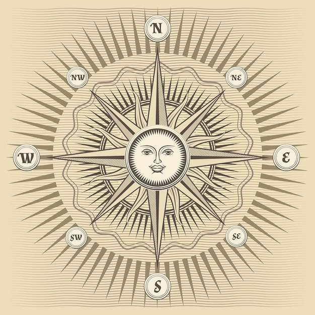 Rosa dos ventos vintage com o sol no centro Vetor grátis
