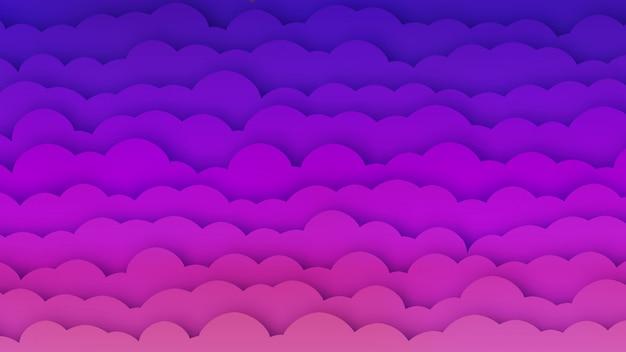 Rosa e azul nuvens bg com efeito papercut Vetor Premium