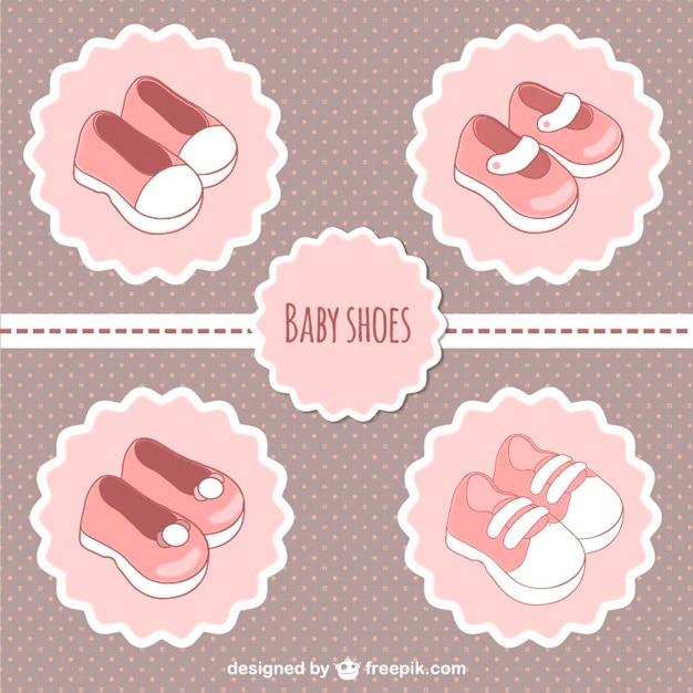 Rosa etiquetas de sapatos de bebê Vetor grátis