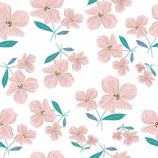 Rosa flor e folhas padrão sem emenda Vetor Premium