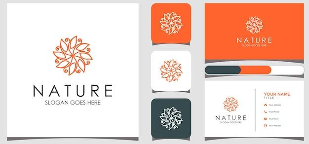 Rosa floral elegante minimalista para beleza, cosméticos, ioga e spa. logotipo e cartão de visita Vetor Premium