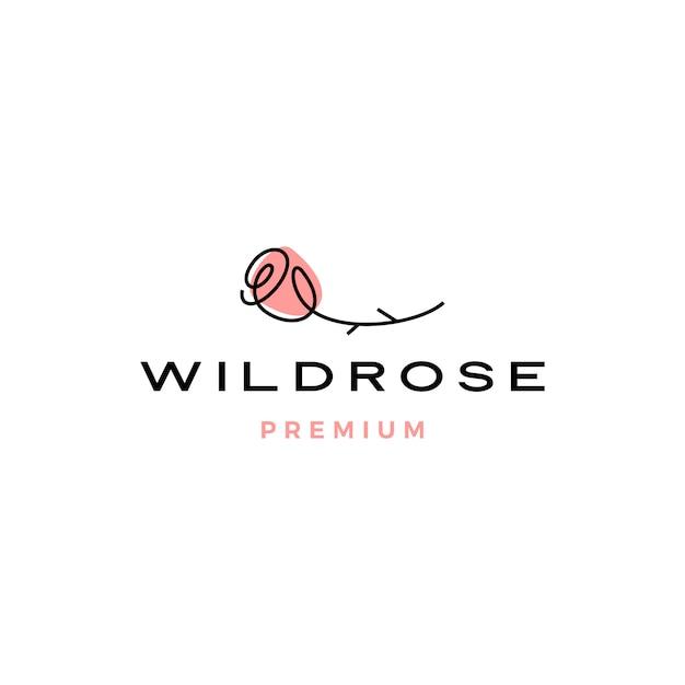 Rosa logotipo flor icon ilustração Vetor Premium