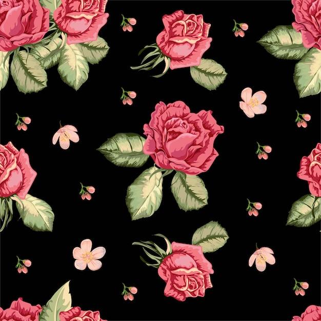 Rosa padrão sem emenda em estilo retro Vetor Premium