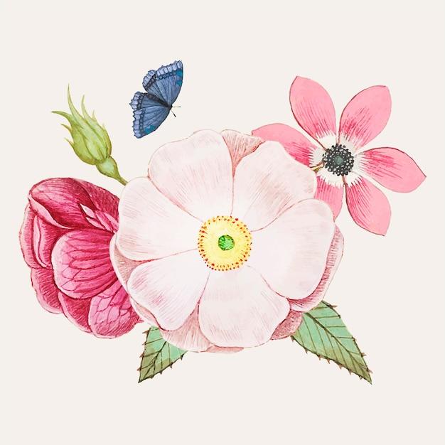 Rosa selvagem em estilo vintage Vetor grátis