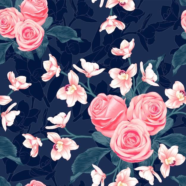 Rosa sem costura padrão rosa e flores da orquídea rosa sobre fundo azul escuro. ilustração desenho estilo aquarela. Vetor Premium