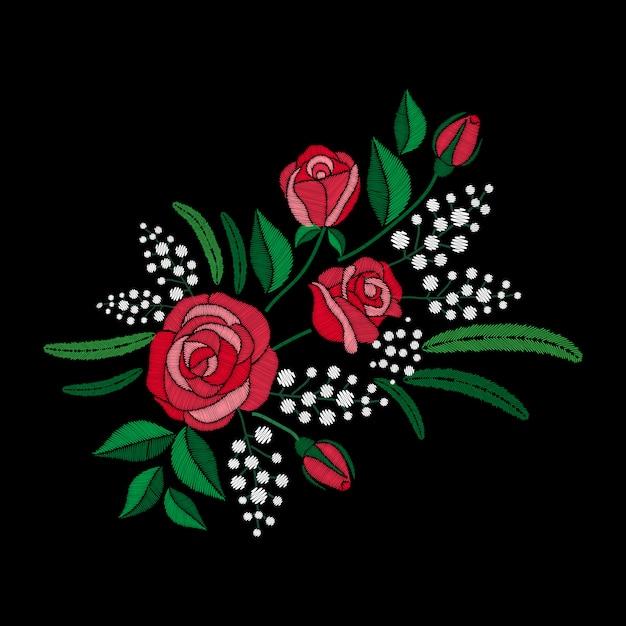 Rosa vermelha e bordado de flores brancas em fundo preto. imitação de cetim Vetor Premium