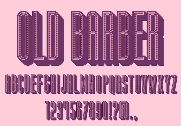 Rosa vintage letras coloridas, fonte condensada. retro com sombras Vetor Premium