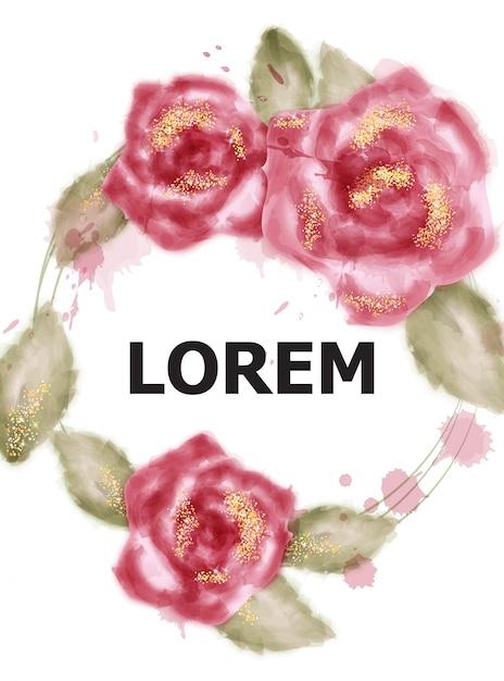 Rosas cor-de-rosa da aguarela com glitter dourado Vetor Premium