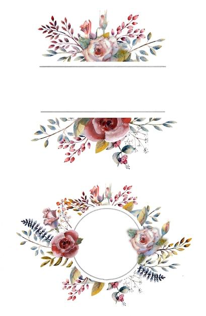 Rosas cor de rosa em aquarela em um quadro redondo em um branco isolado. Vetor Premium