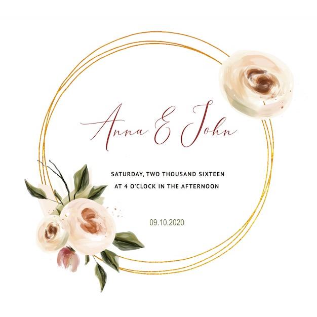 Rosas corais que wedding o convite para cartões de casamento, salvar a data e as folhas Vetor Premium