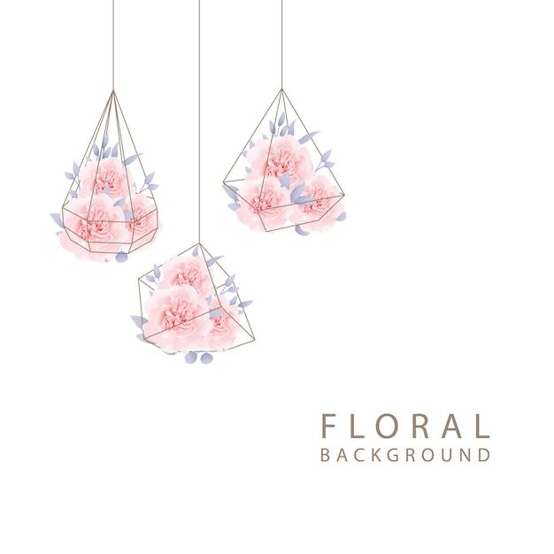 Rosas de convite de casamento floral Vetor Premium