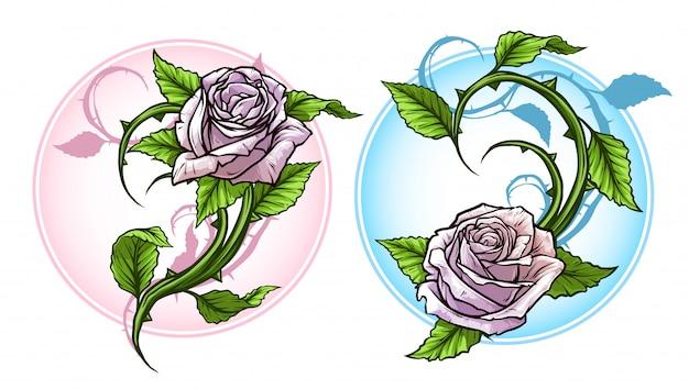 Rosas de desenhos animados detalhadas gráfico com conjunto de haste Vetor Premium