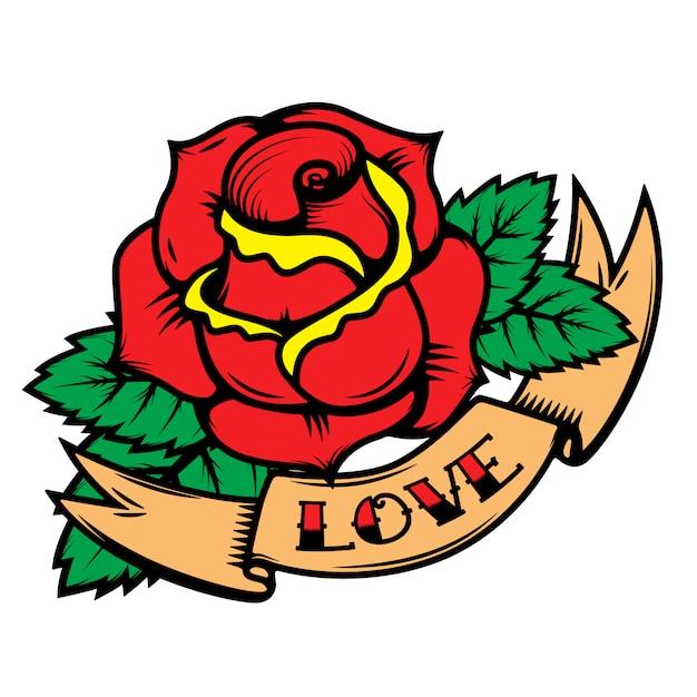 Rosas do estilo da tatuagem da velha escola com as fitas no fundo branco. ame. elementos para cartaz, cartão postal, camiseta. ilustração Vetor Premium