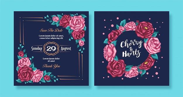 Rosas florais vintage convite de casamento com fundo escuro Vetor Premium