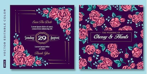 Rosas florais vintage, convite de casamento em fundo escuro Vetor Premium