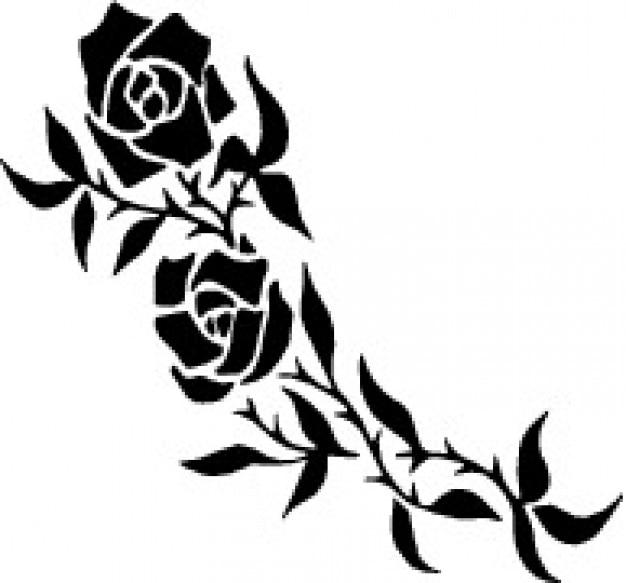 Rosas Ramo Tatuagem Vetor Gratis