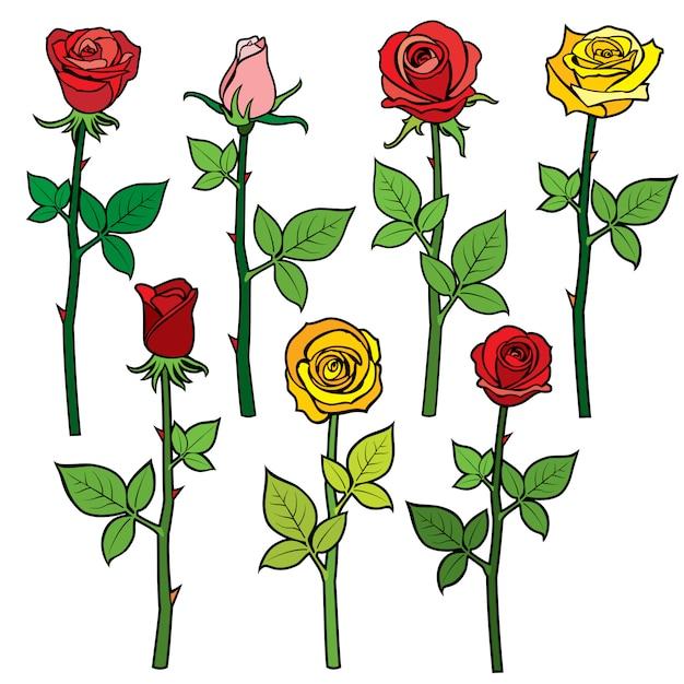 Rosas vermelhas vetor com botões de flores Vetor Premium