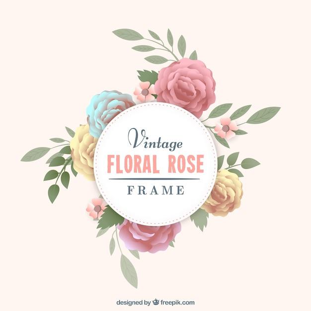 Rose frame em estilo retro Vetor grátis