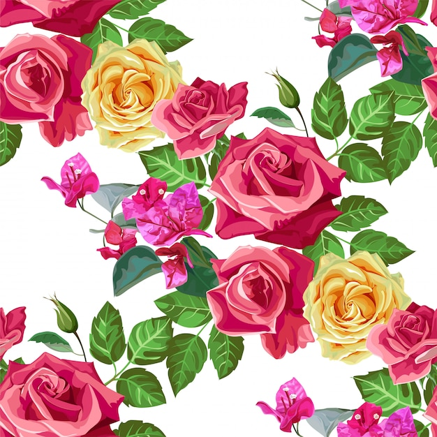 Rose seamless pattern vector illustration Vetor Premium