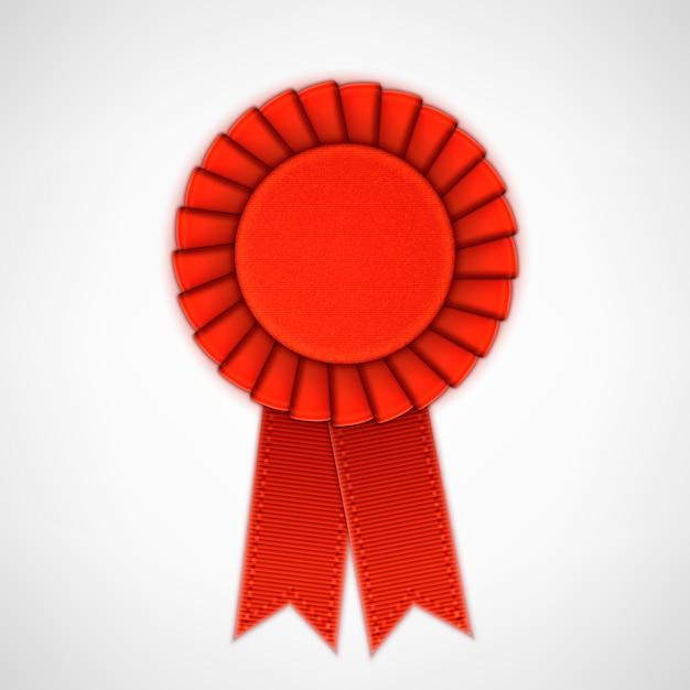 Rosette de matéria têxtil realista vermelho com fitas. Vetor Premium