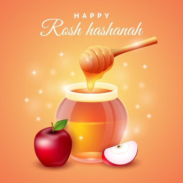 Rosh hashaná feliz mel e maçã Vetor grátis