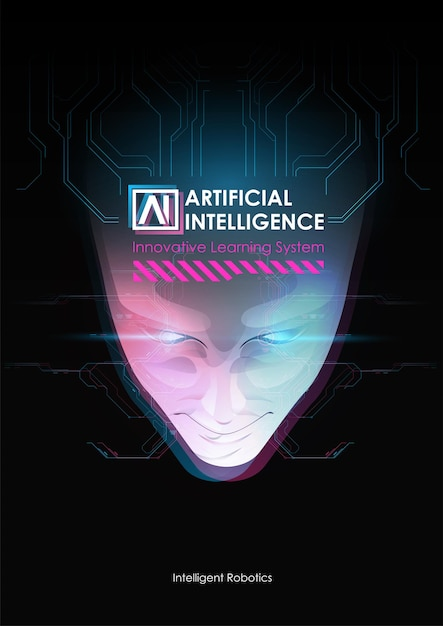 Rosto da mente cibernética. conceito de fundo de tecnologia. Vetor Premium