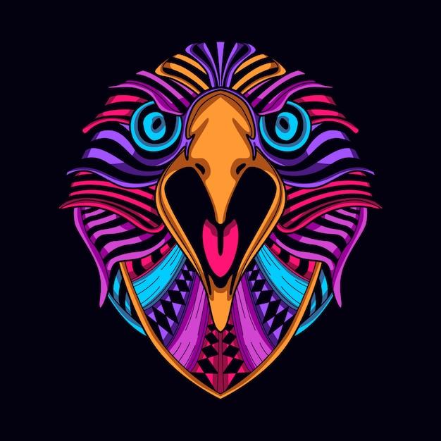 Rosto de águia de cor de brilho Vetor Premium