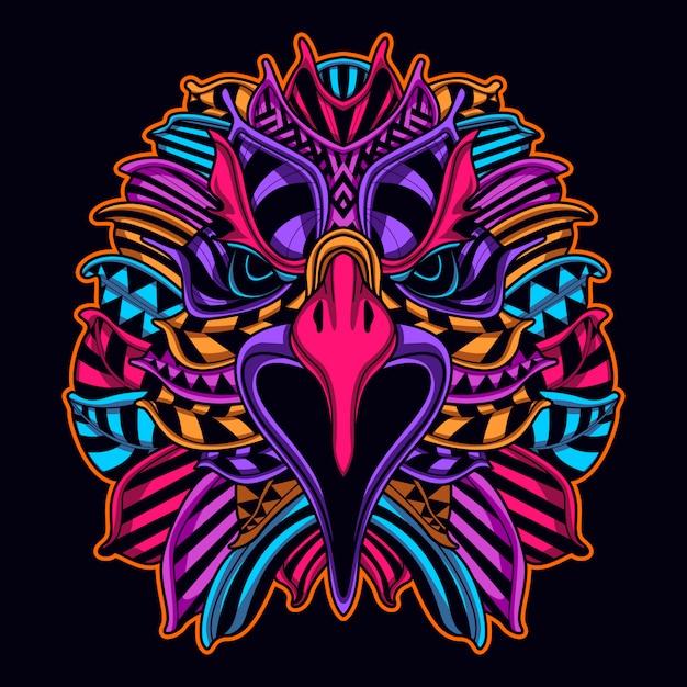Rosto de águia em arte de estilo néon cor Vetor Premium