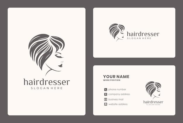 Rosto de beleza, estilo de cabelo, design de logotipo de mulher com modelo de cartão. Vetor Premium