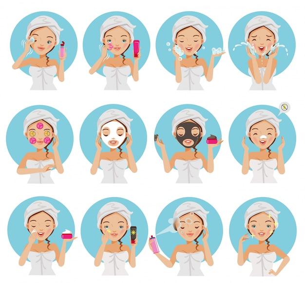 Rosto de cuidados da pele do conjunto de mulheres. Vetor Premium