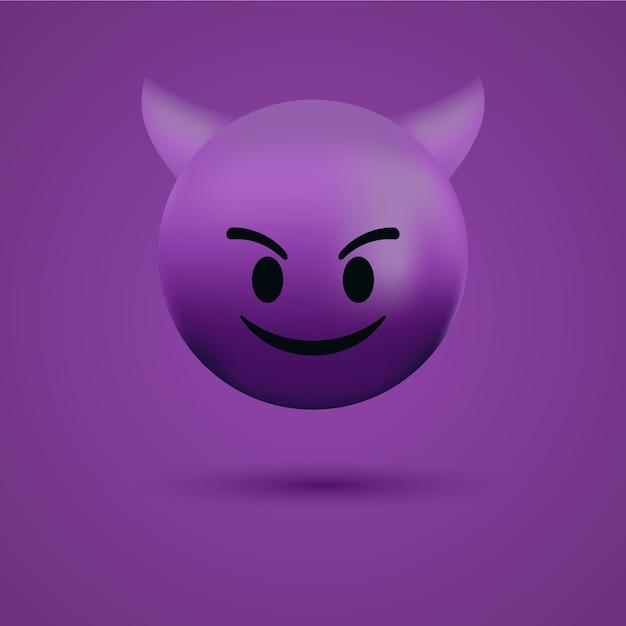 Rosto de emoticon red devil ou emoji malvado Vetor Premium