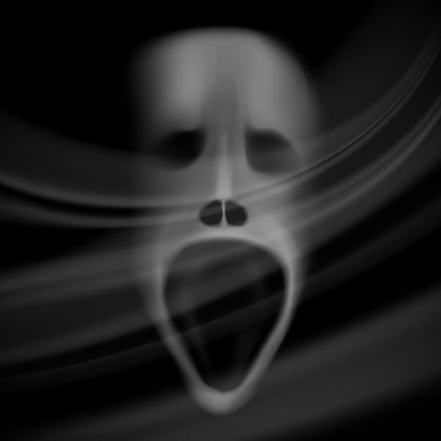 Rosto de fantasma, crânio borrado, fundo de terror com sombras Vetor grátis