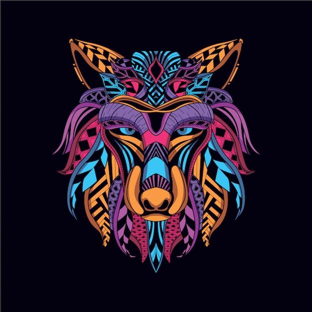 Rosto de lobo decorativo de cor neon Vetor Premium