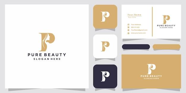 Rosto de mulher bonita criativa com logotipo p e design de cartão de visita Vetor Premium