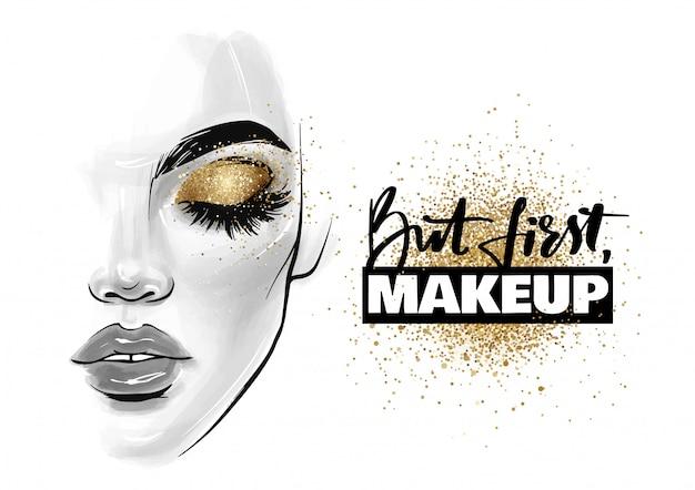 Rosto de mulher bonita. retrato de menina com cílios pretos, sobrancelhas e frase mas primeiro, maquiagem Vetor Premium
