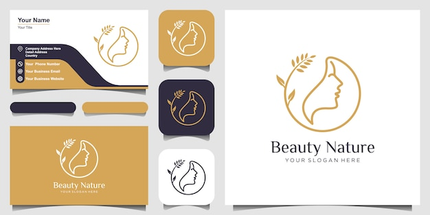 Rosto de mulher com logotipo de flor e cartão de visita Vetor Premium