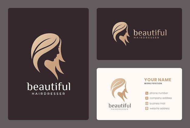 Rosto de mulher elegante, cabeleireiro, design de logotipo de salão de beleza com modelo de cartão. Vetor Premium