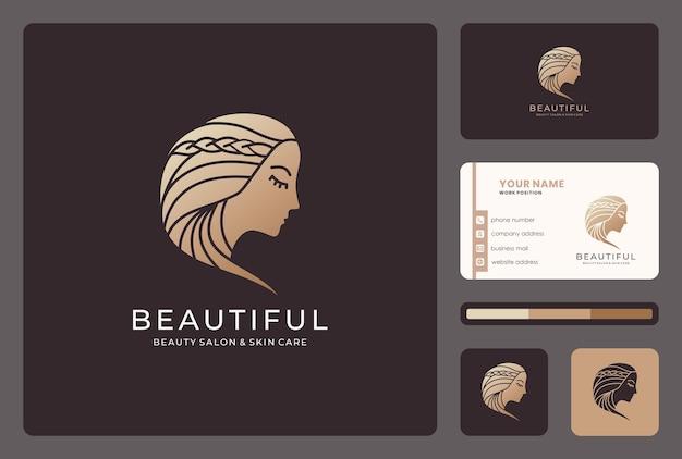 Rosto de mulher, salão de beleza, design de logotipo de cabeleireiro com modelo de cartão de visita Vetor Premium