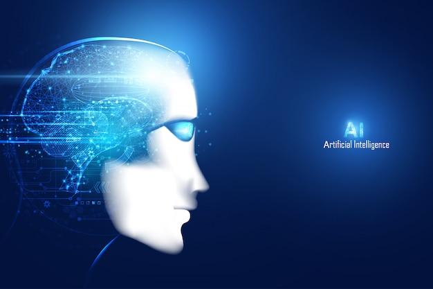 Rosto de tecnologia futurista digital inteligente inteligência artificial abstrato com cérebro Vetor Premium