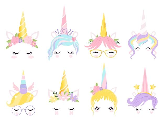 Rosto de unicórnio. fantasia cavalo pônei animal criação kit orelhas cabeça chifre olhos e cabelos óculos vetor fofo. cavalo e pônei de ilustração, magia de unicórnio de rosto Vetor Premium