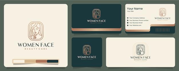 Rosto feminino, beleza, elegante, minimalista, cartão de visita e design de logotipo Vetor Premium