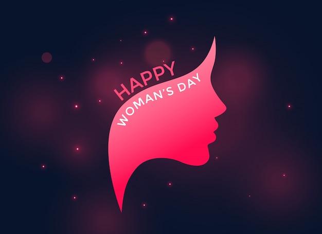 Rosto feminino rosa para o feliz dia das mulheres Vetor grátis