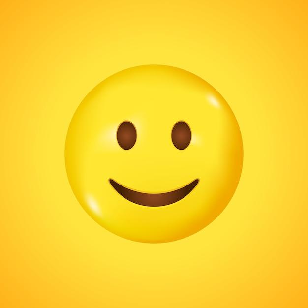 Rosto sorridente. sorriso emoji de vetor. emoticon feliz. emoticon fofo isolado em fundo amarelo. grande sorriso em 3d. Vetor Premium