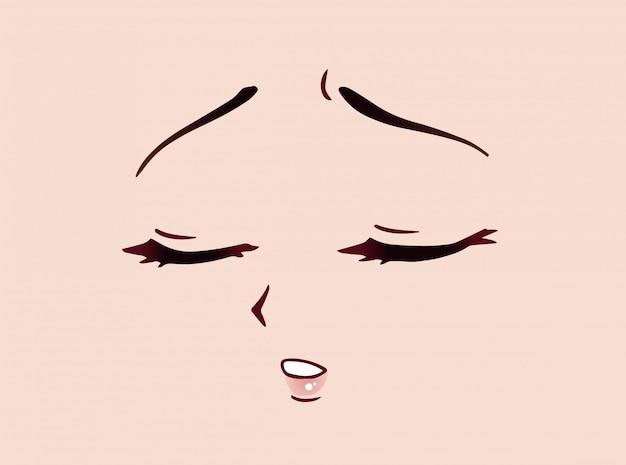 Rosto triste de anime. olhos fechados estilo mangá, nariz pequeno e boca kawaii. mão-extraídas ilustração dos desenhos animados do vetor. Vetor Premium