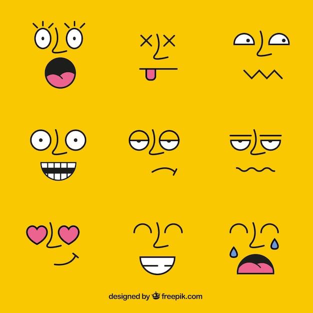 Rostos com expressões diferentes Vetor grátis